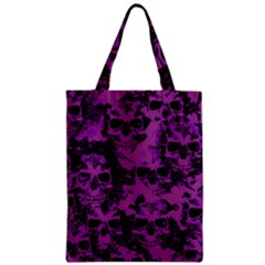 Cloudy Skulls Black Purple Zipper Classic Tote Bag by MoreColorsinLife