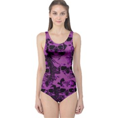 Cloudy Skulls Black Purple One Piece Swimsuit by MoreColorsinLife
