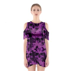 Cloudy Skulls Black Purple Shoulder Cutout One Piece by MoreColorsinLife