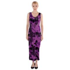 Cloudy Skulls Black Purple Fitted Maxi Dress by MoreColorsinLife