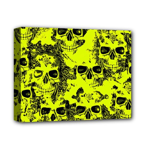 Cloudy Skulls Black Yellow Deluxe Canvas 14  X 11  by MoreColorsinLife