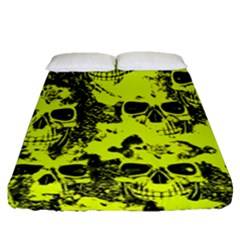 Cloudy Skulls Black Yellow Fitted Sheet (queen Size) by MoreColorsinLife