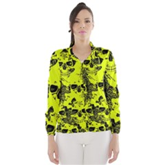 Cloudy Skulls Black Yellow Wind Breaker (women) by MoreColorsinLife