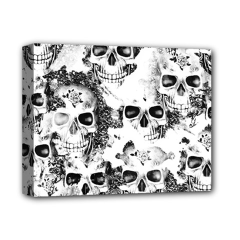 Cloudy Skulls B&w Deluxe Canvas 14  X 11  by MoreColorsinLife