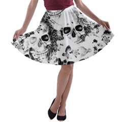 Cloudy Skulls B&w A Line Skater Skirt by MoreColorsinLife