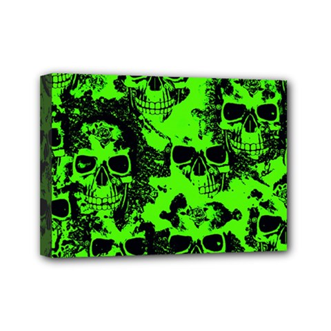 Cloudy Skulls Black Green Mini Canvas 7  X 5  by MoreColorsinLife