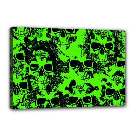 Cloudy Skulls Black Green Canvas 18  X 12  by MoreColorsinLife