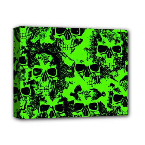 Cloudy Skulls Black Green Deluxe Canvas 14  X 11  by MoreColorsinLife