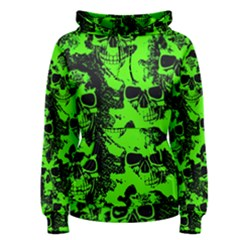 Cloudy Skulls Black Green Women s Pullover Hoodie by MoreColorsinLife
