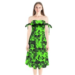 Cloudy Skulls Black Green Shoulder Tie Bardot Midi Dress