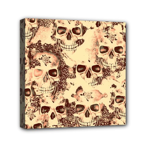 Cloudy Skulls Beige Mini Canvas 6  X 6  by MoreColorsinLife