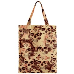 Cloudy Skulls Beige Zipper Classic Tote Bag by MoreColorsinLife