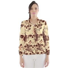 Cloudy Skulls Beige Wind Breaker (women) by MoreColorsinLife
