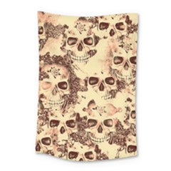 Cloudy Skulls Beige Small Tapestry by MoreColorsinLife
