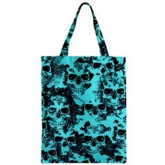 Cloudy Skulls Aqua Zipper Classic Tote Bag by MoreColorsinLife