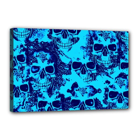 Cloudy Skulls Blue Canvas 18  X 12  by MoreColorsinLife