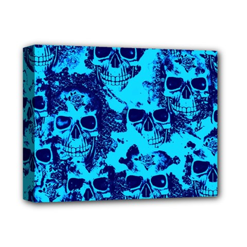Cloudy Skulls Blue Deluxe Canvas 14  X 11  by MoreColorsinLife