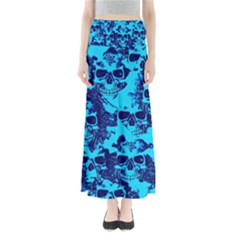 Cloudy Skulls Blue Maxi Skirts by MoreColorsinLife
