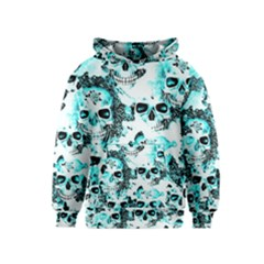 Cloudy Skulls White Aqua Kids  Pullover Hoodie by MoreColorsinLife