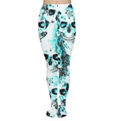 Cloudy Skulls White Aqua Women s Tights