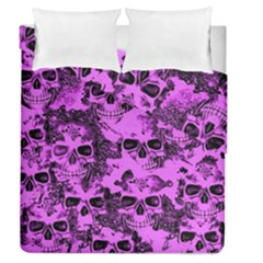 Cloudy Skulls Pink Duvet Cover Double Side (queen Size) by MoreColorsinLife