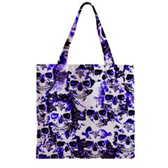 Cloudy Skulls White Blue Zipper Grocery Tote Bag by MoreColorsinLife