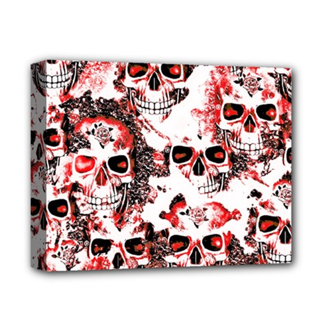Cloudy Skulls White Red Deluxe Canvas 14  X 11  by MoreColorsinLife
