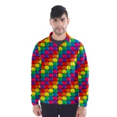 Colorful 3d Rectangles           Wind Breaker (men) by LalyLauraFLM