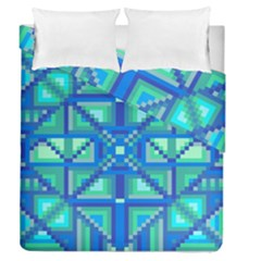 Grid Geometric Pattern Colorful Duvet Cover Double Side (queen Size) by Nexatart