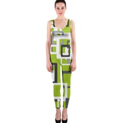 Pattern Abstract Form Four Corner Onepiece Catsuit