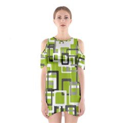 Pattern Abstract Form Four Corner Shoulder Cutout One Piece