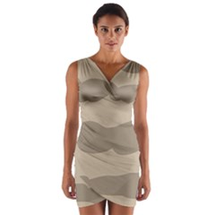 Pattern Wave Beige Brown Wrap Front Bodycon Dress