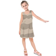 Pattern Wave Beige Brown Kids  Sleeveless Dress by Nexatart