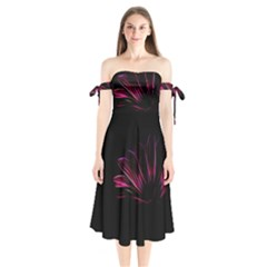 Pattern Design Abstract Background Shoulder Tie Bardot Midi Dress