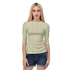 Pattern Background Green Lines Quarter Sleeve Tee by Nexatart