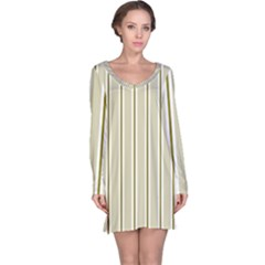Pattern Background Green Lines Long Sleeve Nightdress