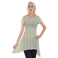 Pattern Background Green Lines Short Sleeve Side Drop Tunic