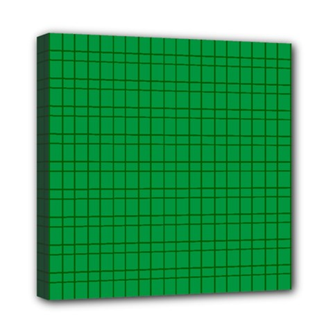 Pattern Green Background Lines Mini Canvas 8  x 8