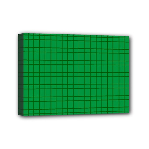 Pattern Green Background Lines Mini Canvas 7  x 5