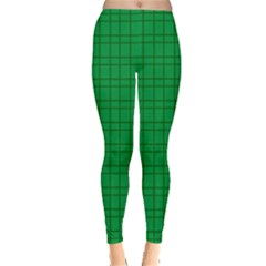 Pattern Green Background Lines Leggings