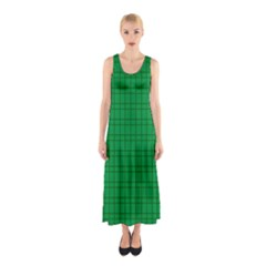 Pattern Green Background Lines Sleeveless Maxi Dress