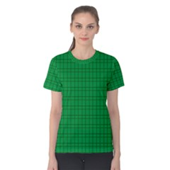 Pattern Green Background Lines Women s Cotton Tee