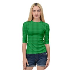 Pattern Green Background Lines Quarter Sleeve Tee