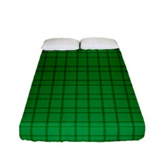 Pattern Green Background Lines Fitted Sheet (full/ Double Size)