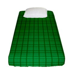 Pattern Green Background Lines Fitted Sheet (Single Size)
