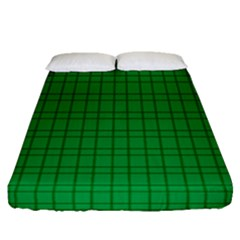Pattern Green Background Lines Fitted Sheet (Queen Size)
