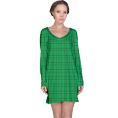 Pattern Green Background Lines Long Sleeve Nightdress