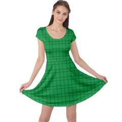 Pattern Green Background Lines Cap Sleeve Dresses