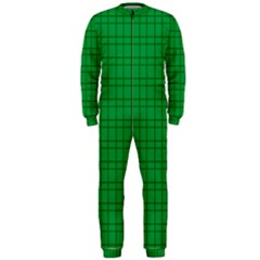 Pattern Green Background Lines OnePiece Jumpsuit (Men)