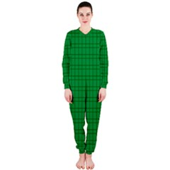 Pattern Green Background Lines OnePiece Jumpsuit (Ladies)